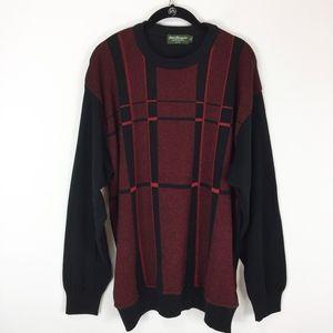 Norm Thompson Sweater Men's XL Red Black Plaid